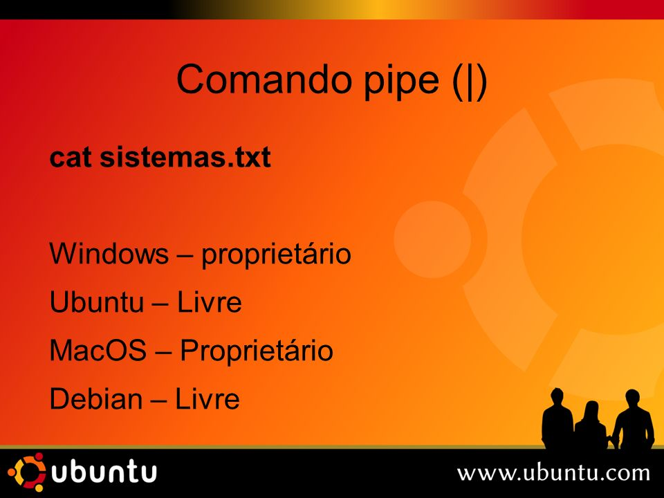 Comando pipe (|) cat sistemas.txt Windows – proprietário