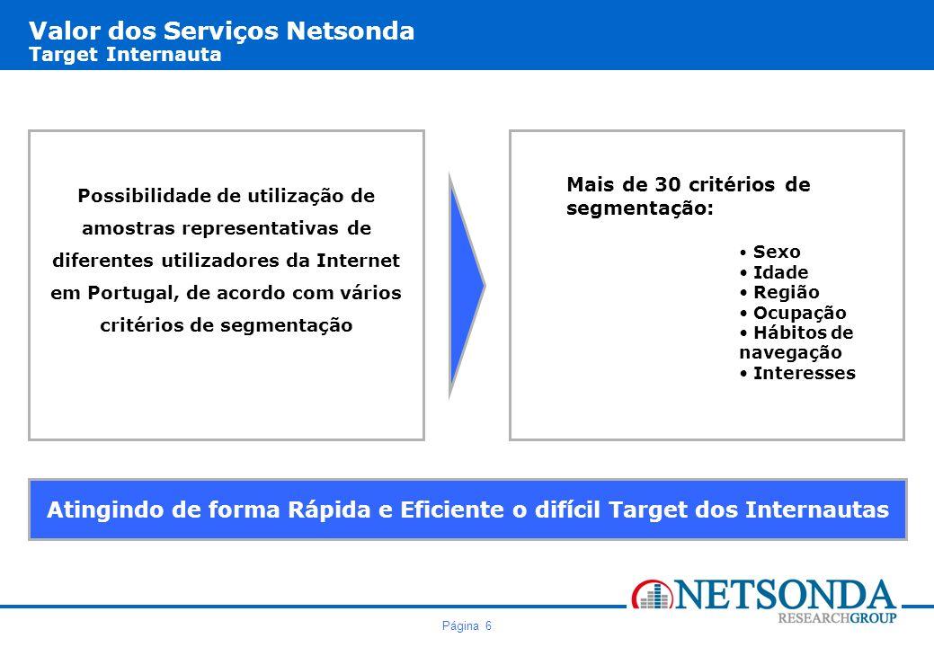 Valor dos Serviços Netsonda Target Internauta