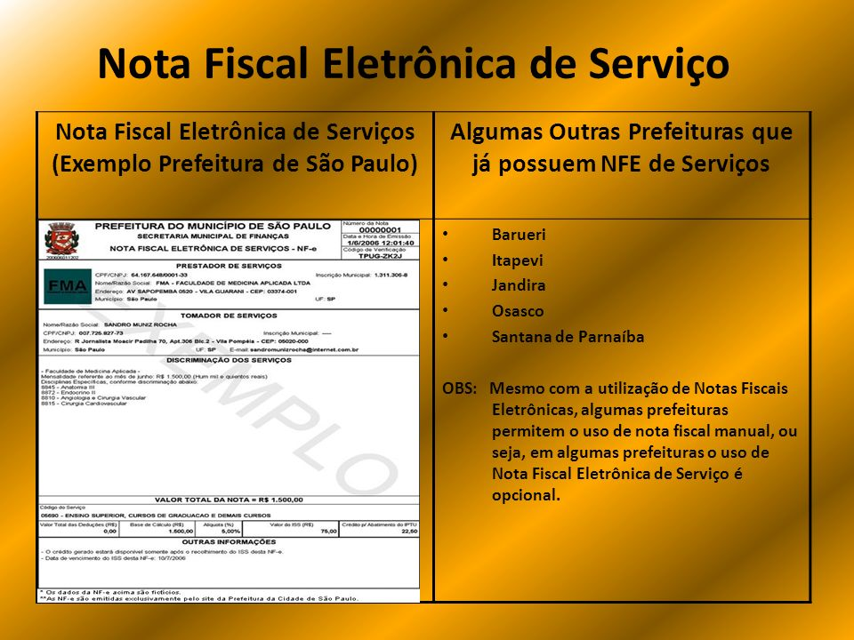 Nota Fiscal Eletrônica de Serviço