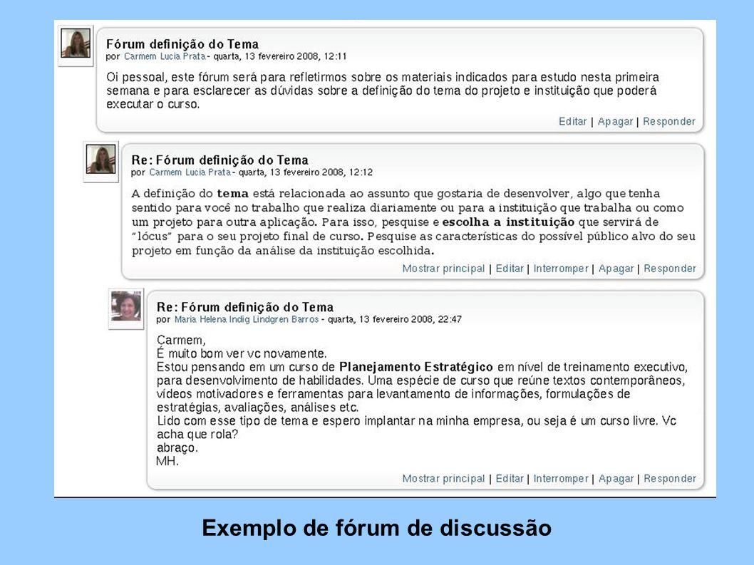 Exemplo de fórum de discussão