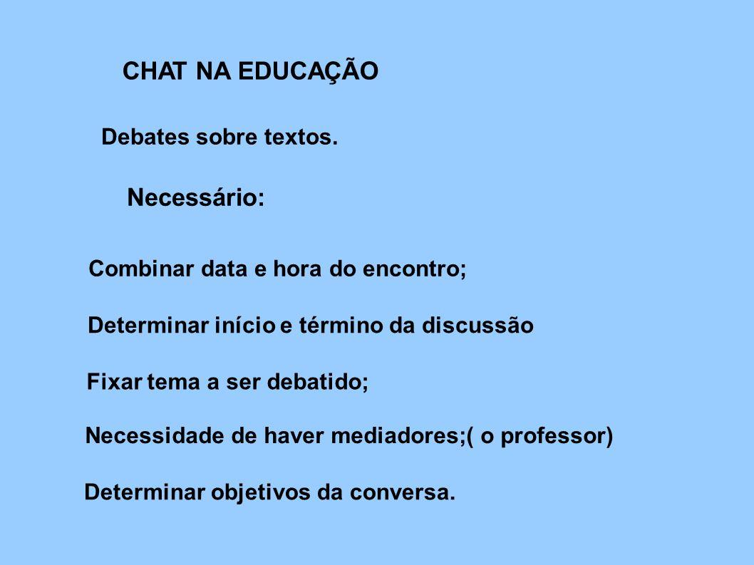 CHAT NA EDUCAÇÃO Necessário: Debates sobre textos.