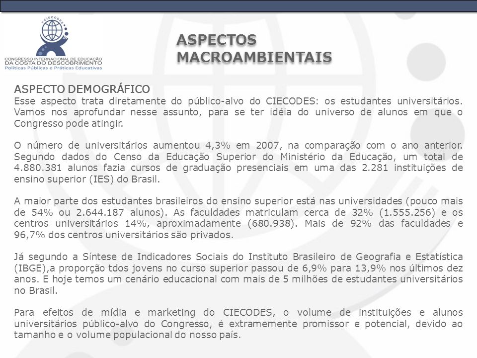 ASPECTOS MACROAMBIENTAIS