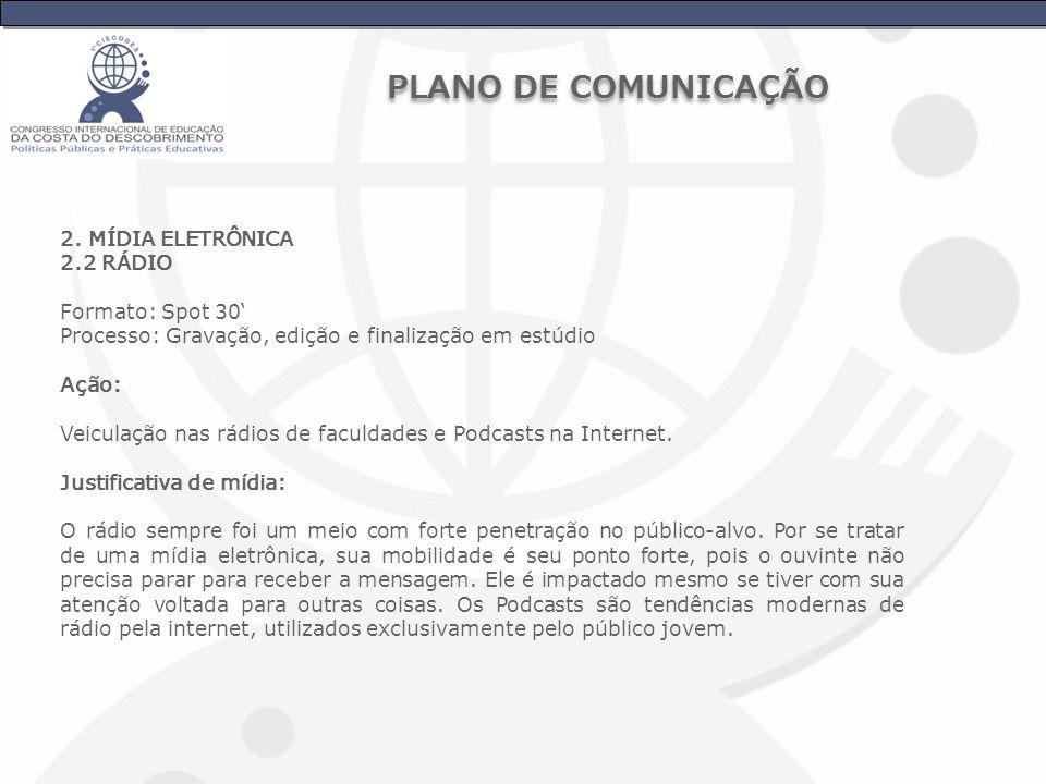 PLANO DE COMUNICAÇÃO 2. MÍDIA ELETRÔNICA 2.2 RÁDIO Formato: Spot 30'
