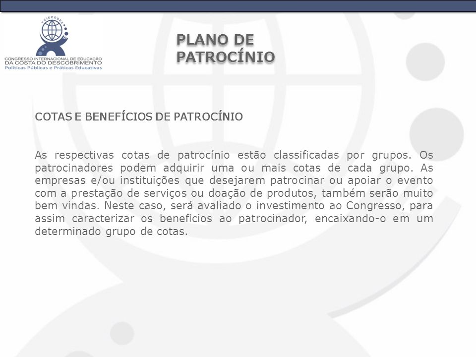 PLANO DE PATROCÍNIO COTAS E BENEFÍCIOS DE PATROCÍNIO