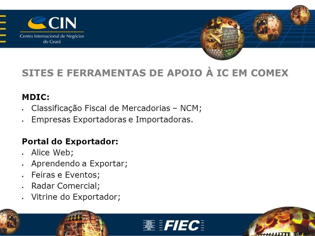 SITES E FERRAMENTAS DE APOIO À IC EM COMEX