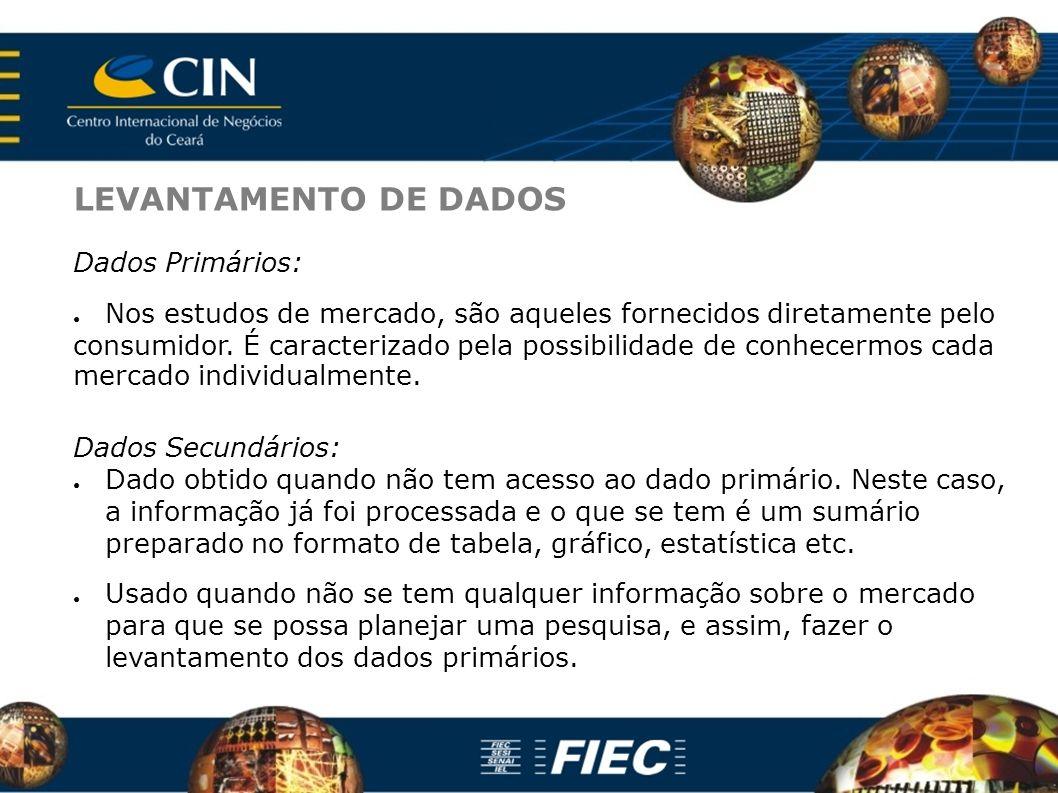 LEVANTAMENTO DE DADOS Dados Primários: