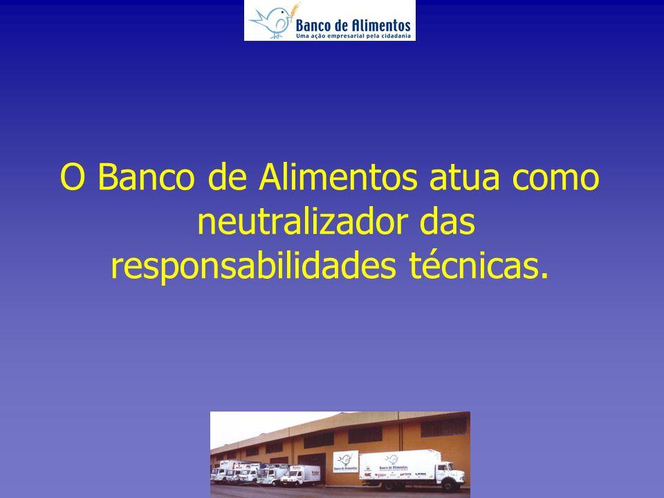 O Banco de Alimentos atua como neutralizador das responsabilidades técnicas.