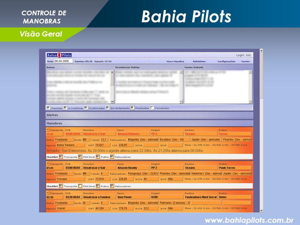 Bahia Pilots CONTROLE DE MANOBRAS Visão Geral www.bahiapilots.com.br