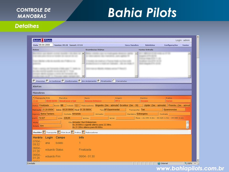 Bahia Pilots CONTROLE DE MANOBRAS Detalhes www.bahiapilots.com.br