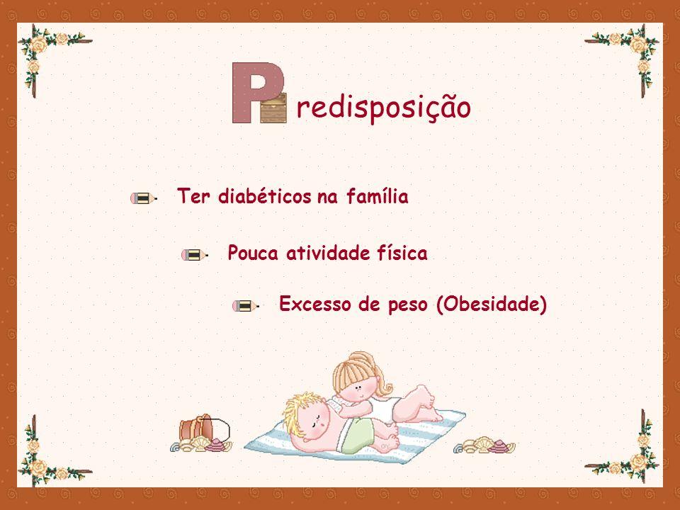 redisposição Ter diabéticos na família Pouca atividade física