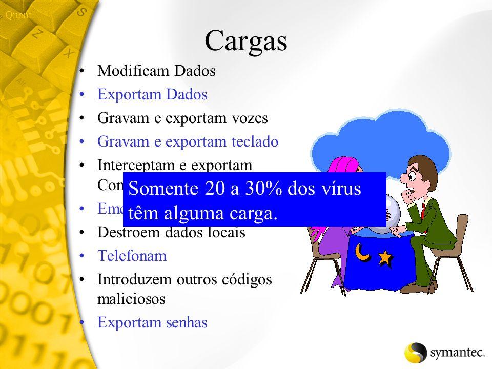 Cargas Somente 20 a 30% dos vírus têm alguma carga. Modificam Dados