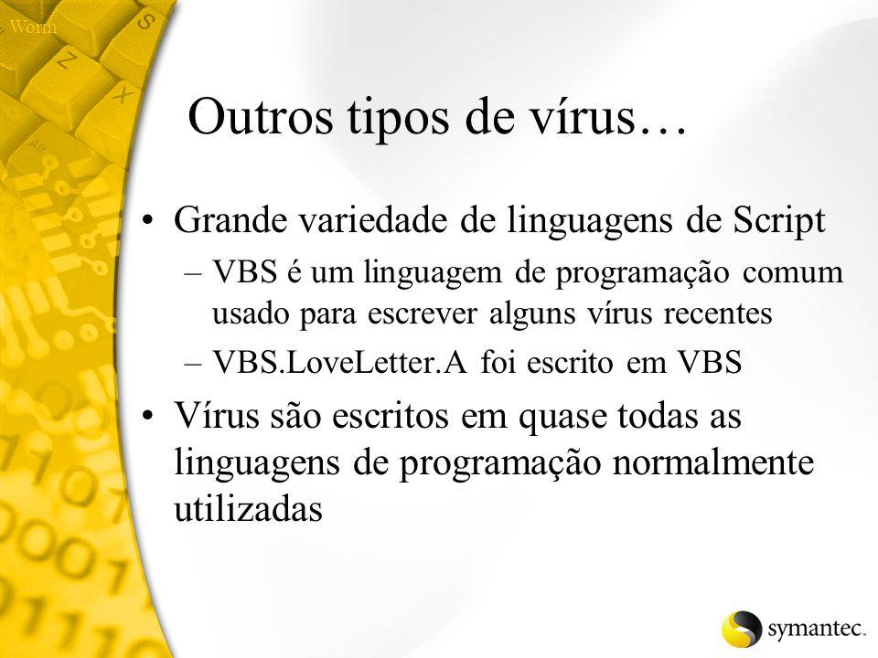 Outros tipos de vírus… Grande variedade de linguagens de Script