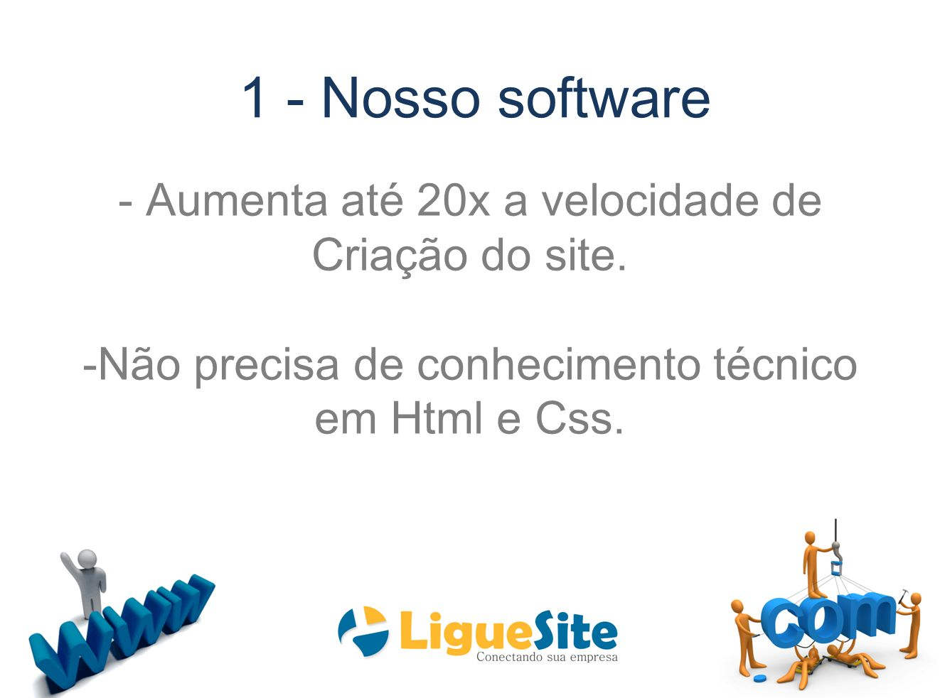 1 - Nosso software - Aumenta até 20x a velocidade de Criação do site.