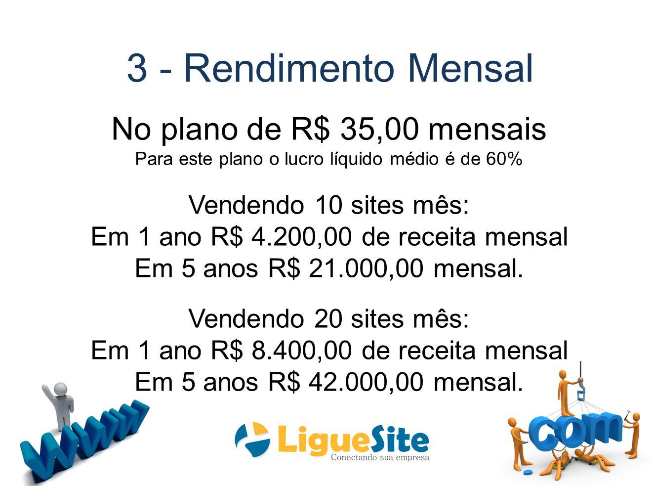 3 - Rendimento Mensal No plano de R$ 35,00 mensais