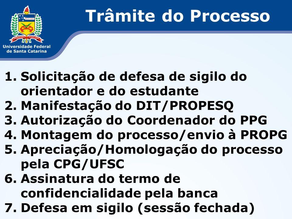 Trâmite do Processo Solicitação de defesa de sigilo do orientador e do estudante. Manifestação do DIT/PROPESQ.