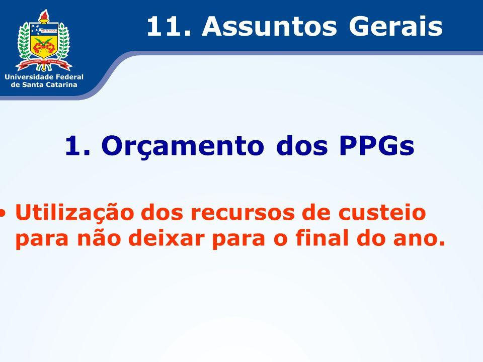11. Assuntos Gerais 1. Orçamento dos PPGs