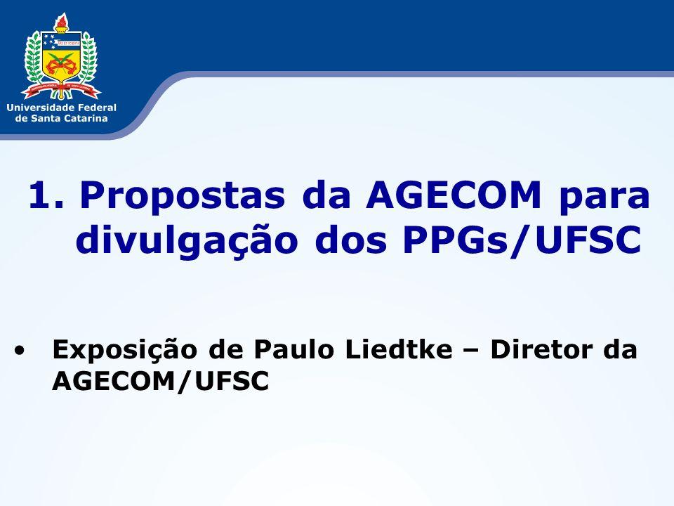 Propostas da AGECOM para divulgação dos PPGs/UFSC