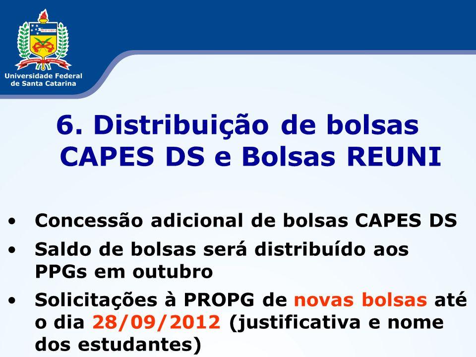6. Distribuição de bolsas CAPES DS e Bolsas REUNI