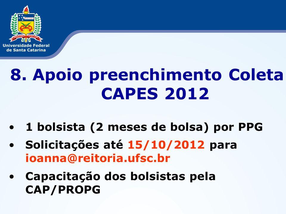 8. Apoio preenchimento Coleta CAPES 2012