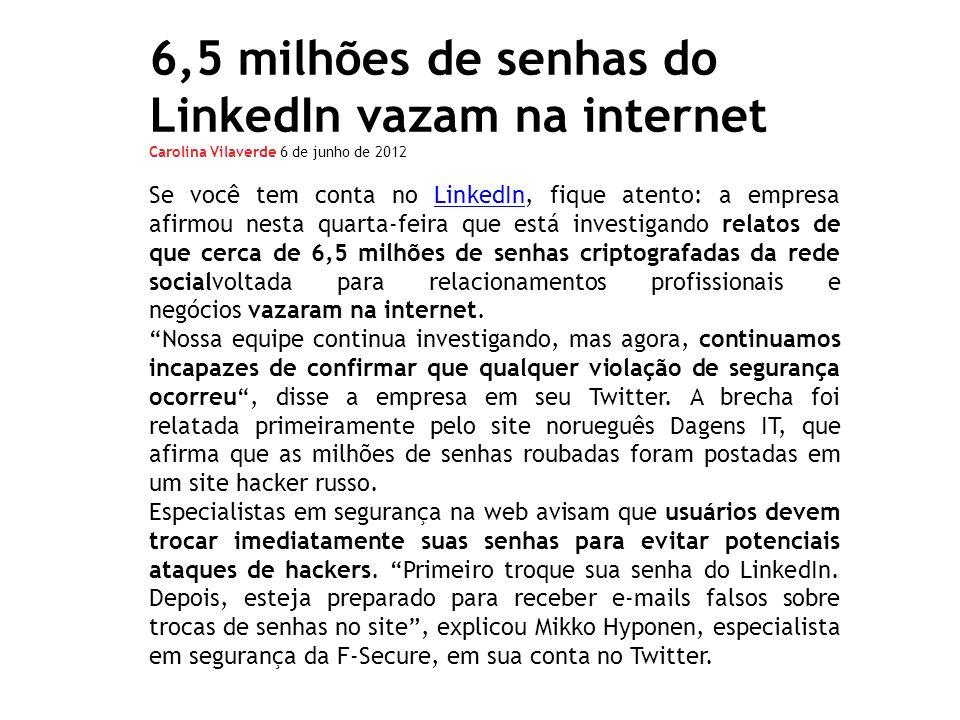 6,5 milhões de senhas do LinkedIn vazam na internet