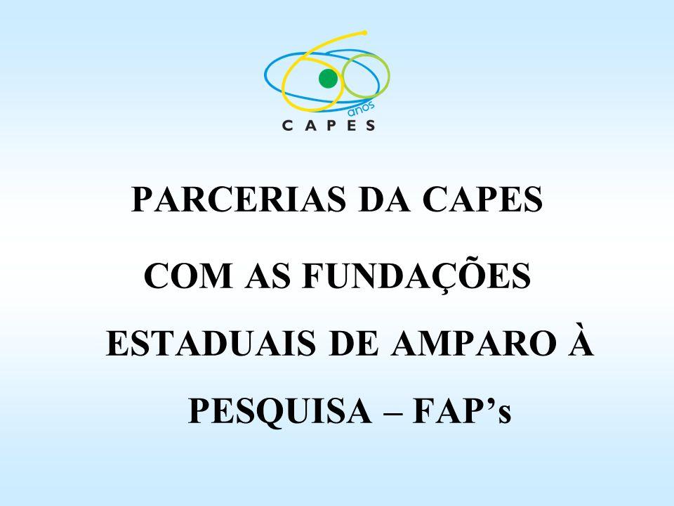 COM AS FUNDAÇÕES ESTADUAIS DE AMPARO À PESQUISA – FAP's