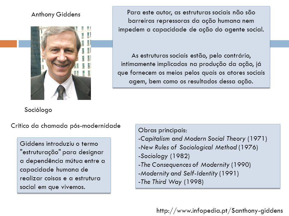 Para este autor, as estruturas sociais não são barreiras repressoras da ação humana nem impedem a capacidade de ação do agente social.