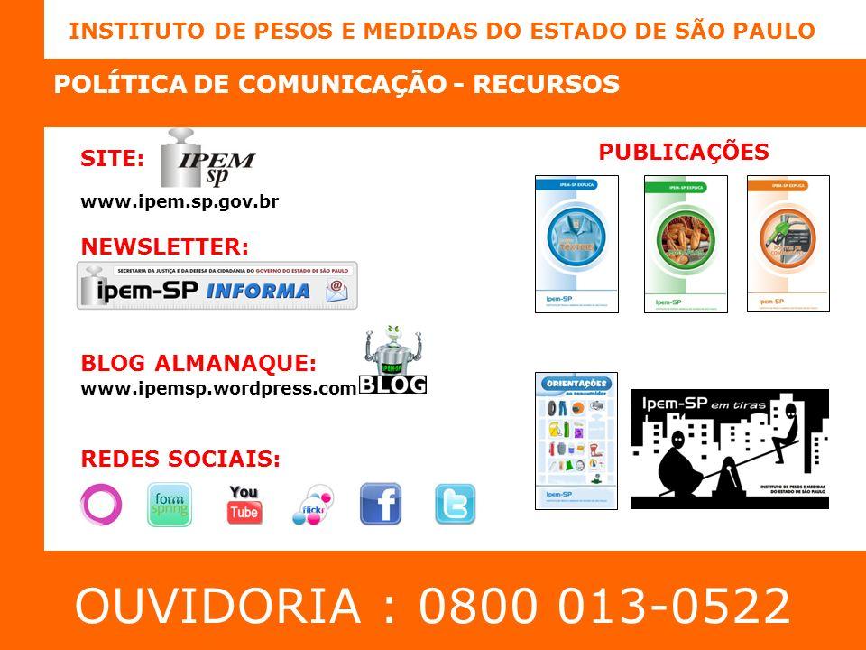 OUVIDORIA : 0800 013-0522 POLÍTICA DE COMUNICAÇÃO - RECURSOS