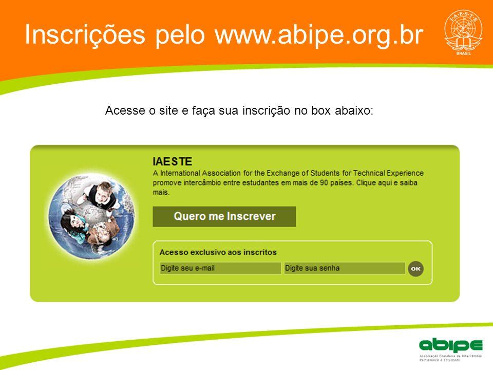 Inscrições pelo www.abipe.org.br