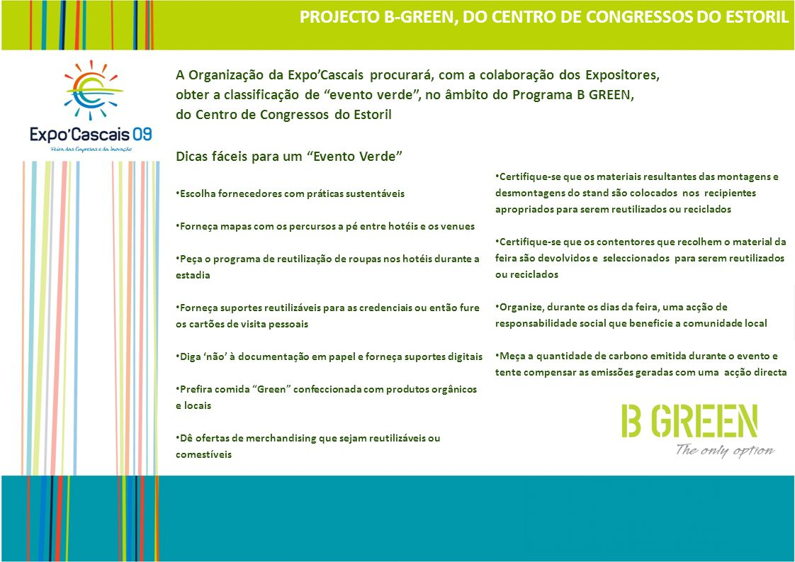 PROJECTO B-GREEN, DO CENTRO DE CONGRESSOS DO ESTORIL