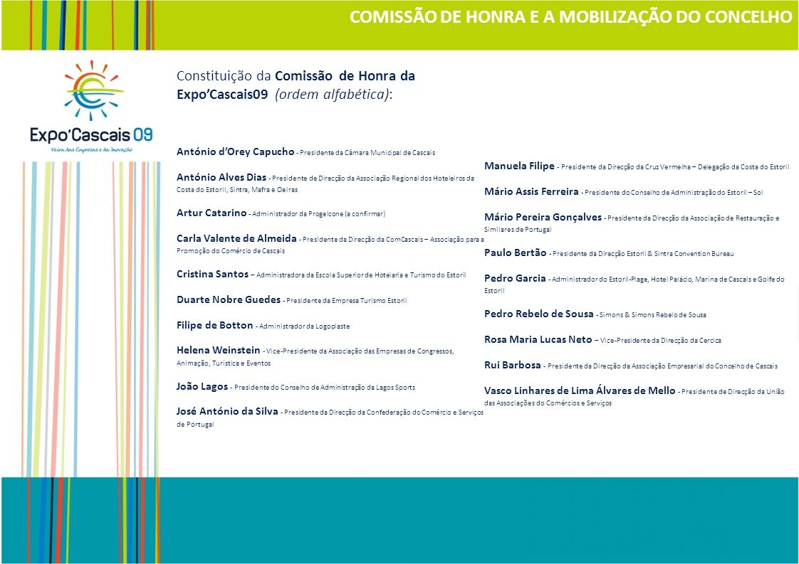 COMISSÃO DE HONRA E A MOBILIZAÇÃO DO CONCELHO