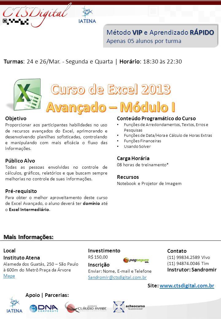 Curso de Excel 2013 Avançado – Módulo I