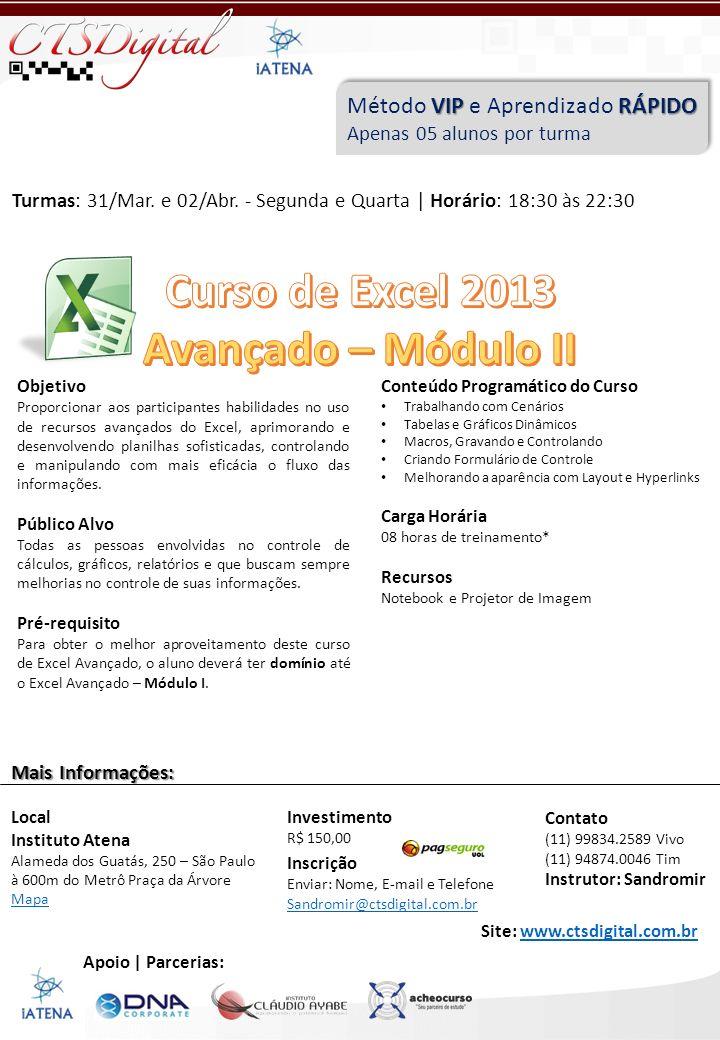 Curso de Excel 2013 Avançado – Módulo II