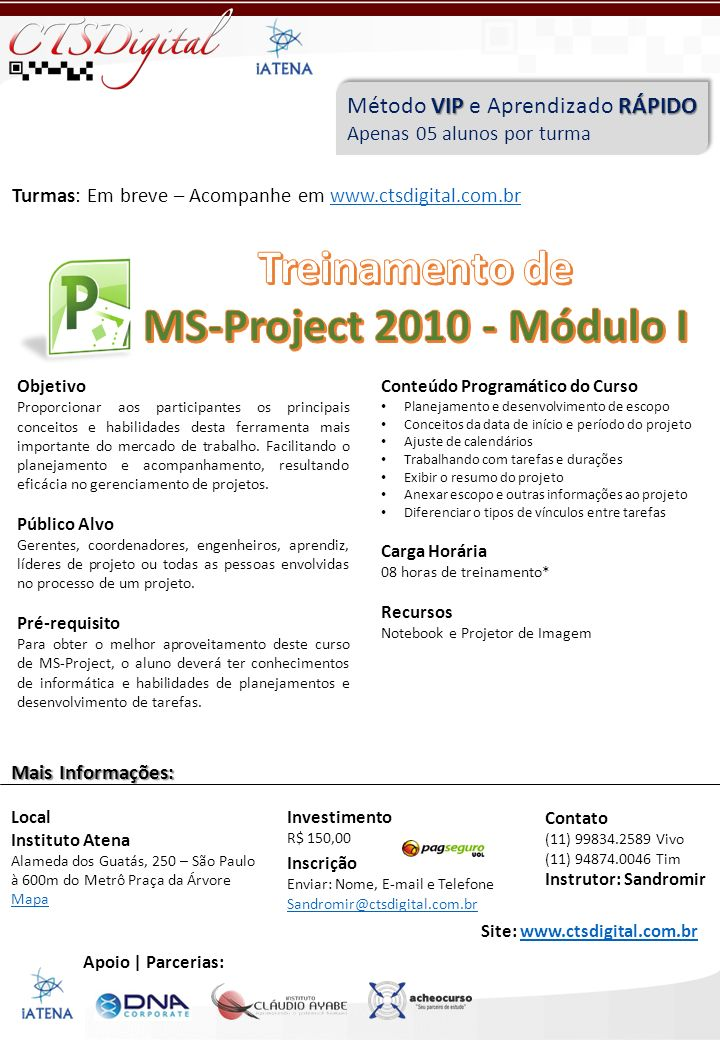 Treinamento de MS-Project 2010 - Módulo I