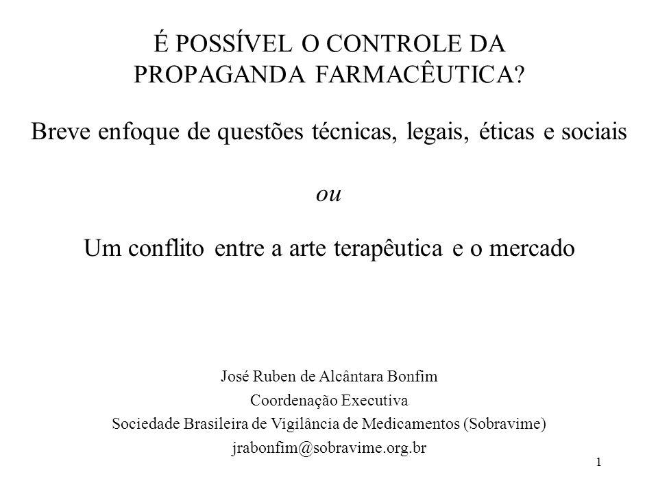 É POSSÍVEL O CONTROLE DA PROPAGANDA FARMACÊUTICA