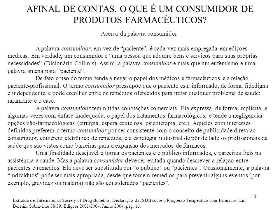 AFINAL DE CONTAS, O QUE É UM CONSUMIDOR DE PRODUTOS FARMACÊUTICOS