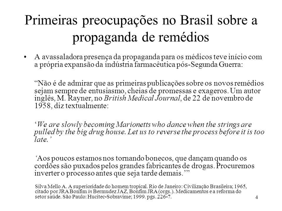 Primeiras preocupações no Brasil sobre a propaganda de remédios