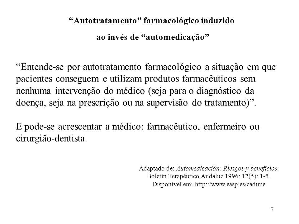 Autotratamento farmacológico induzido ao invés de automedicação