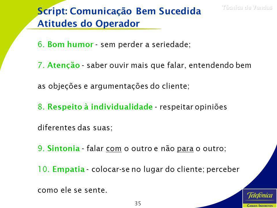 Script: Comunicação Bem Sucedida Atitudes do Operador
