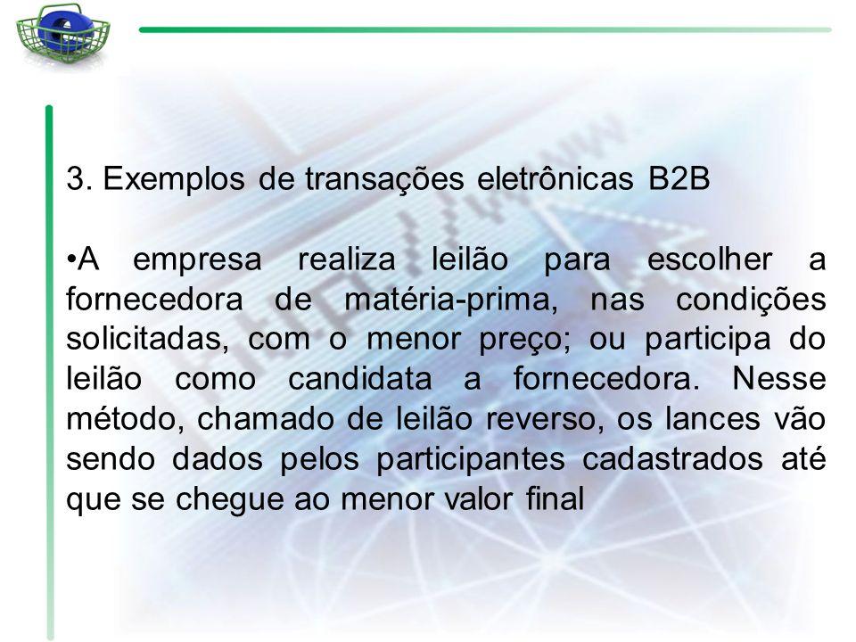 3. Exemplos de transações eletrônicas B2B