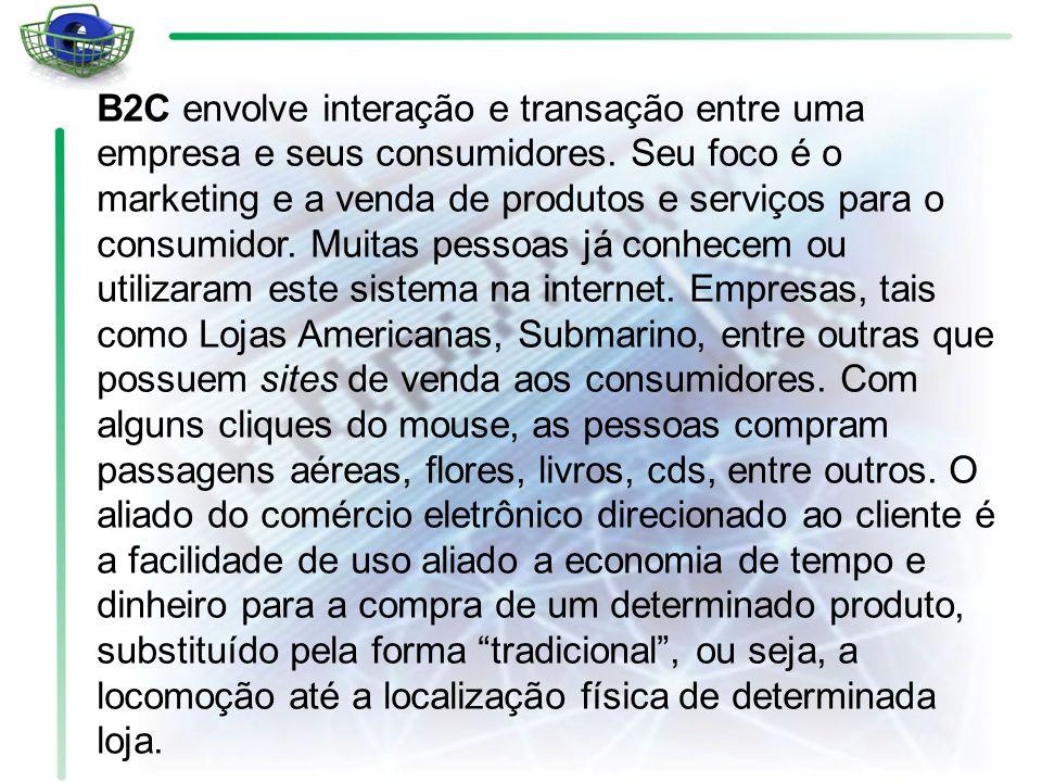 B2C envolve interação e transação entre uma empresa e seus consumidores.
