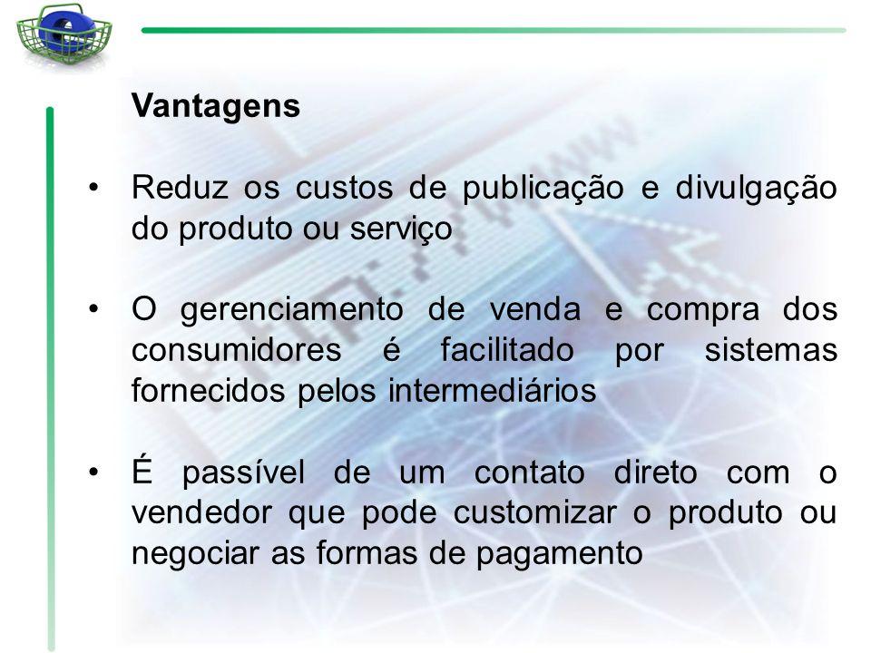 Vantagens Reduz os custos de publicação e divulgação do produto ou serviço.