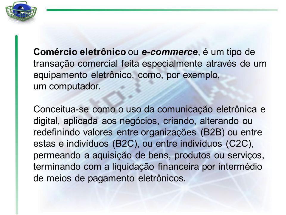 Comércio eletrônico ou e-commerce, é um tipo de transação comercial feita especialmente através de um equipamento eletrônico, como, por exemplo, um computador.