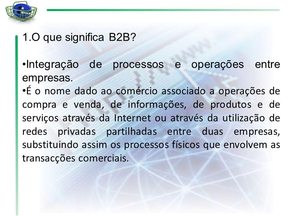 1.O que significa B2B Integração de processos e operações entre empresas.