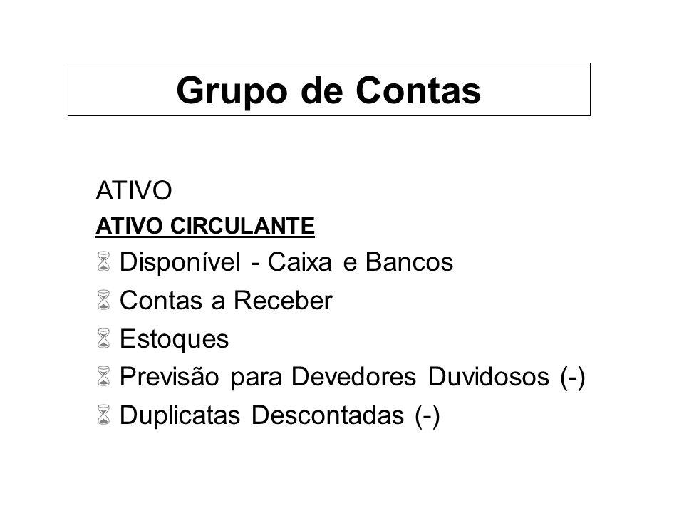 Grupo de Contas ATIVO Disponível - Caixa e Bancos Contas a Receber