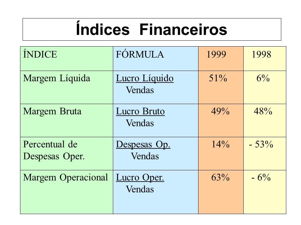 Índices Financeiros ÍNDICE FÓRMULA 1999 1998 Margem Líquida