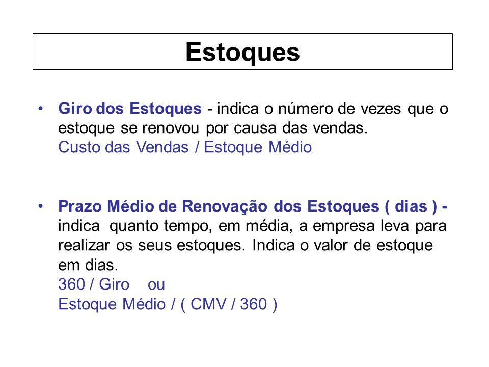 Estoques Giro dos Estoques - indica o número de vezes que o estoque se renovou por causa das vendas.
