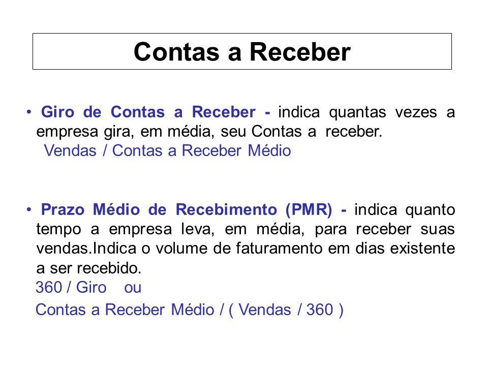 Contas a Receber Giro de Contas a Receber - indica quantas vezes a empresa gira, em média, seu Contas a receber.