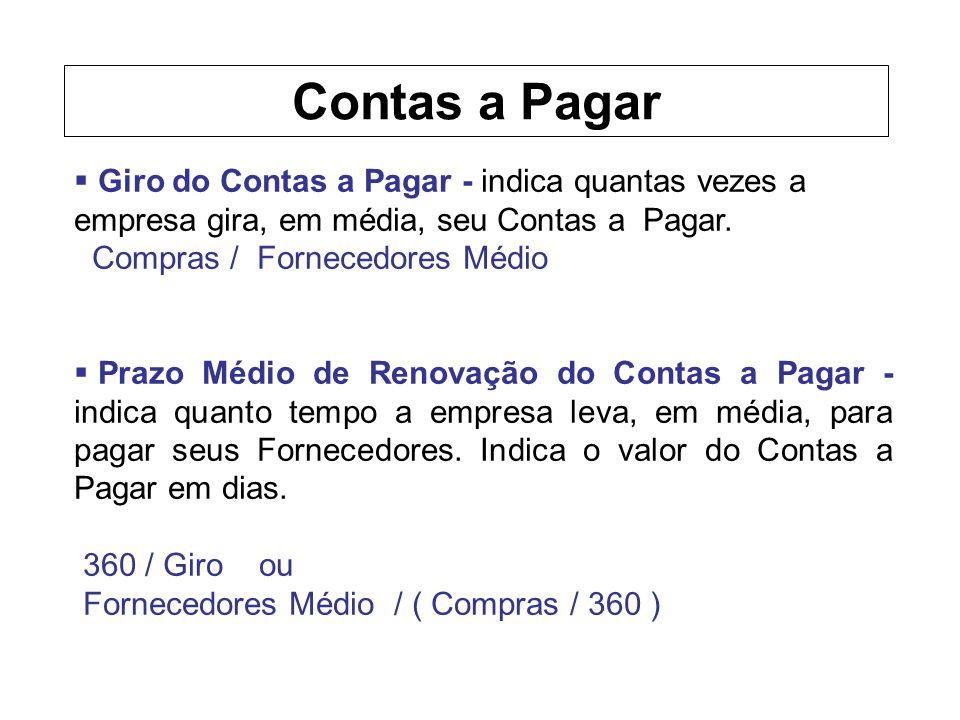 Contas a Pagar Giro do Contas a Pagar - indica quantas vezes a empresa gira, em média, seu Contas a Pagar.