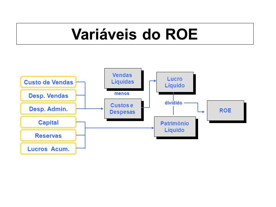 Variáveis do ROE Custo de Vendas Desp. Vendas Desp. Admin. Capital