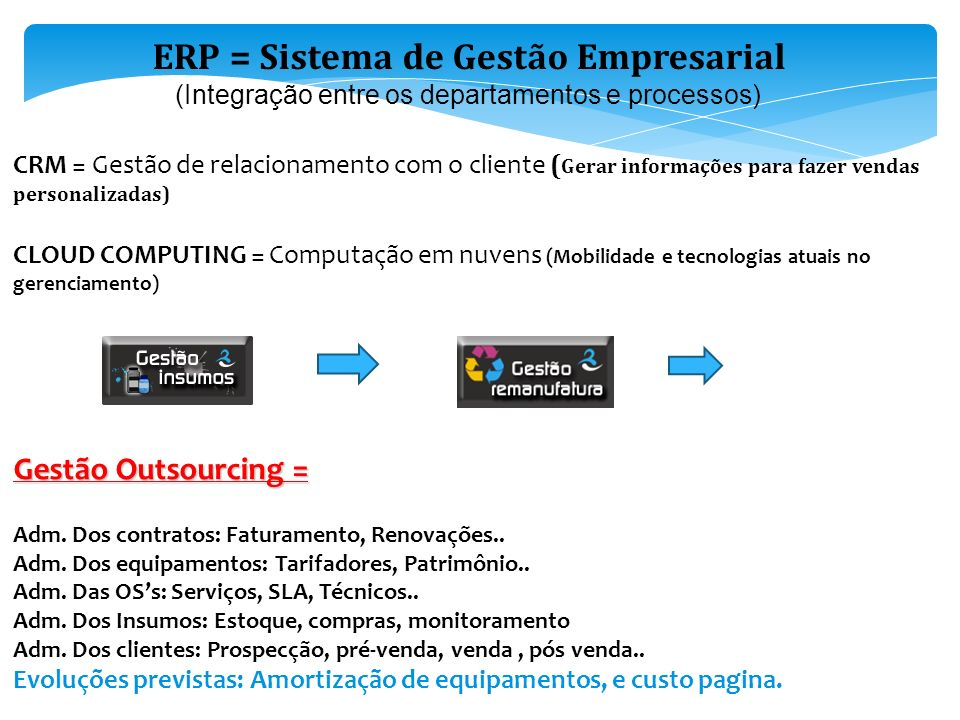 ERP = Sistema de Gestão Empresarial